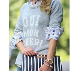 J. Crew Oui Mon Cheri grey pullover sweatshirt